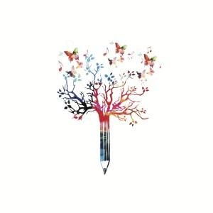 albero matita farfalle